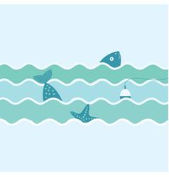 fish float and starfish fishing trip vector image