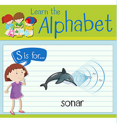 Flashcard letter S is for sonar vector
