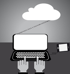 Flat design internet cloud mobile vector image