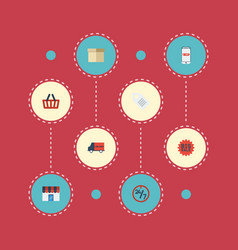 flat icons support shop label and other vector image