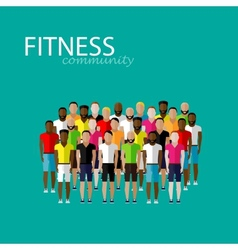 flat of a large group of men fitness community vector image