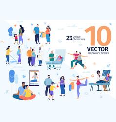 Future mother activities flat concepts set vector