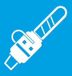 Gasoline powered chainsaw icon white vector