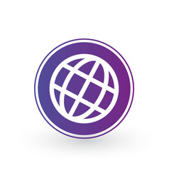 globe world icon in purple circle minimalistic vector image