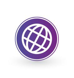 globe world icon in purple circle minimalistic vector image