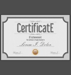 gray certificate retro vintage template vector image