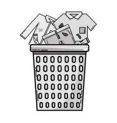 grayscale basket design with dirty clothes inside vector image