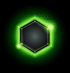 Green technology poly hexagon background vector