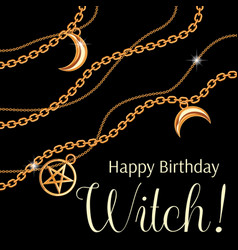 Happy birthday witch greeting card design vector
