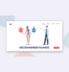 hdl and ldl fats landing page template doctor vector image