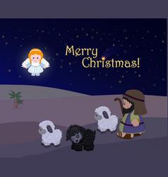 Holiday of merry christmas nativity scene vector