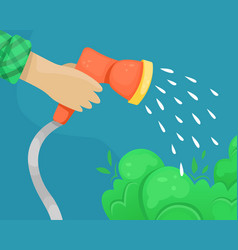 Hose with water nozzle in hand watering of vector