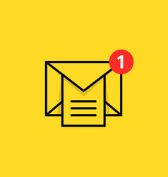 Inbox notice logo with linear email vector