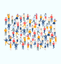 Isometric people crowd large people group vector