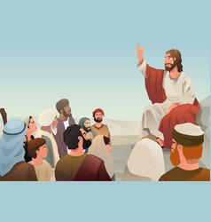 Jesus spreading his teaching to people vector