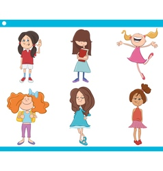kid girls characters cartoon set vector image