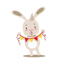 Little Girly Cute White Pet Bunny With Birthday vector