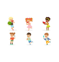 little kids enjoying eating watermelon and ice vector image