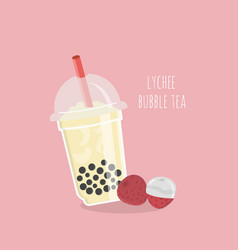 Lynchee bubble tea or pearl milk tea vector