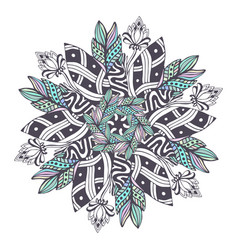 Mandala in floral style zentangle for coloring vector