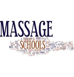 Massage schools text background word cloud concept vector