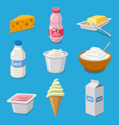 milk products icons vector image