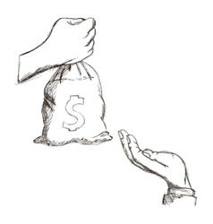 Money bag hand icon vector