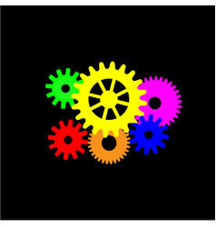 multicolored gear mechanism on a black background vector image