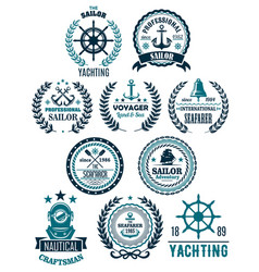 Nautical marine heraldic icons for yachting vector