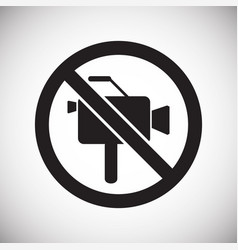 No camera allowed sign on white background for vector