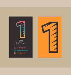number 1 logo business card vector image