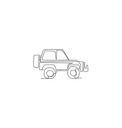 One continuous line drawing suv car vector