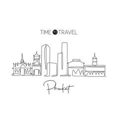 one single line drawing phuket city skyline vector image