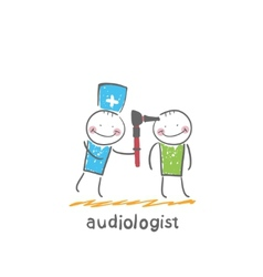 Otolaryngologist examines the ear of the patient vector