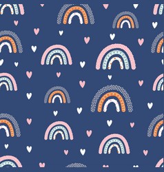 pattern with rainbows and hearts vector image