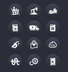petroleum industry icons set vector image