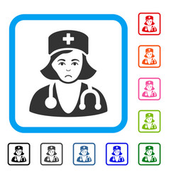 Physician lady framed sadly icon vector