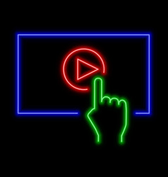 play video online concept neon sign bright vector image