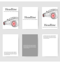 Polygonal design style letterhead and brochure for vector image