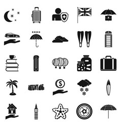 rainy place icons set simple style vector image
