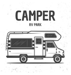 rv camper van isolated black vector image
