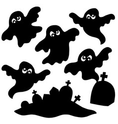 Scary ghosts silhouettes collection vector