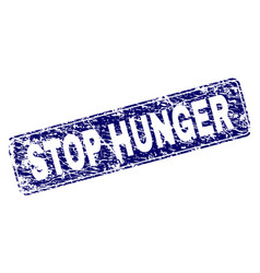 Scratched stop hunger framed rounded rectangle vector