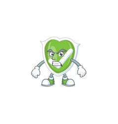 Scream checkmark shield with character a mascot vector