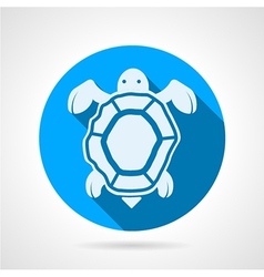 Sea turtle flat round icon vector image