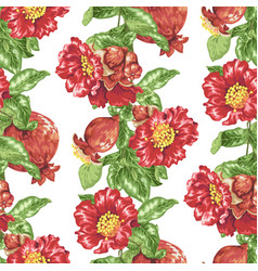 Seamless pattern in with pomegranate fruits and vector