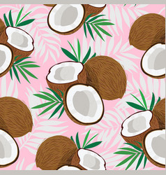 Seamless pattern whole coconut and piece vector
