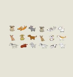 set cartoon dogs happy pets zoo vector image