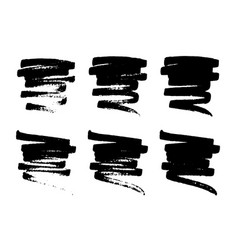 Set hand drawn grunge smears strokes stains vector