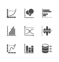 set icons of graph and diagram vector image